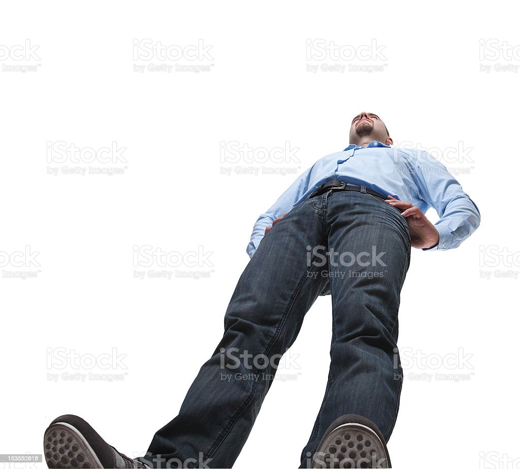 View of man from ground, isolated on white stock photo