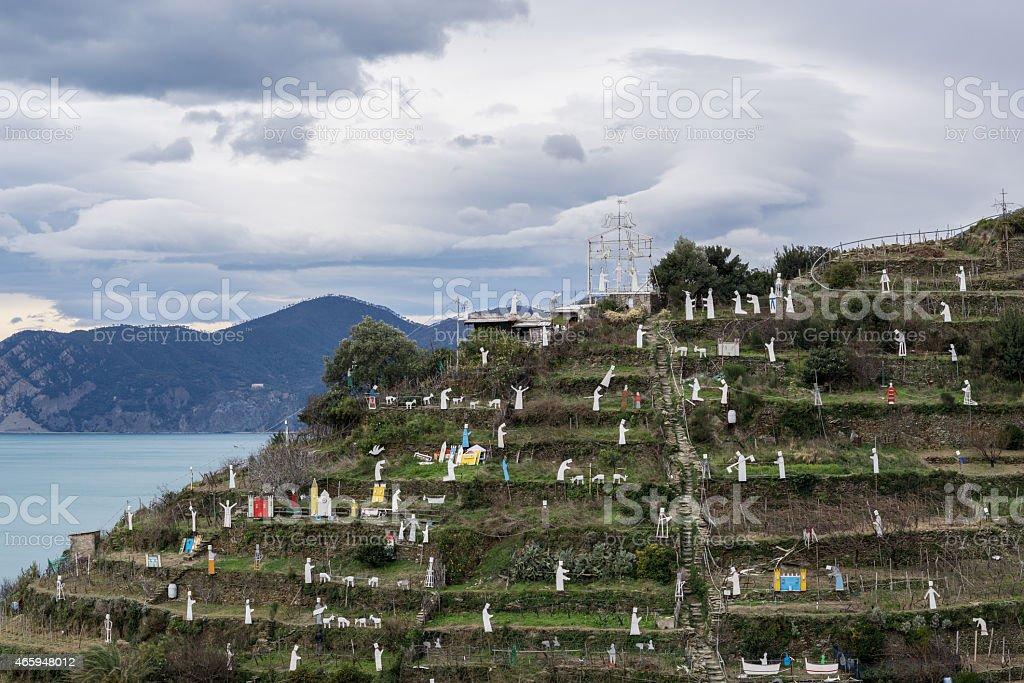 View of Manarola Nativity scene stock photo
