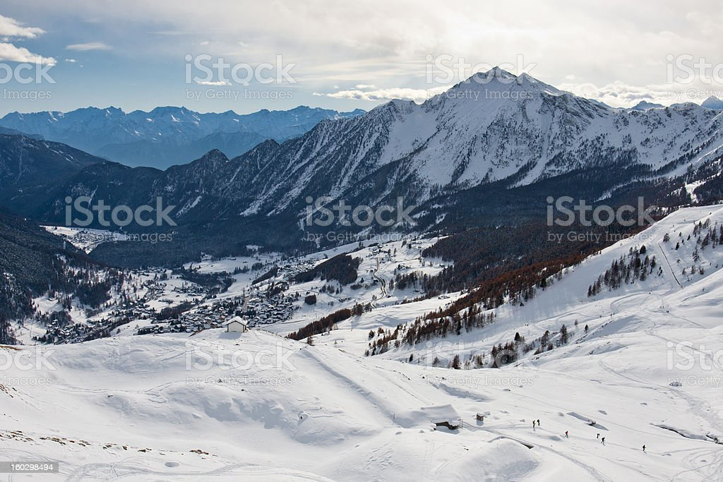 View of Mandriou with snow royalty-free stock photo