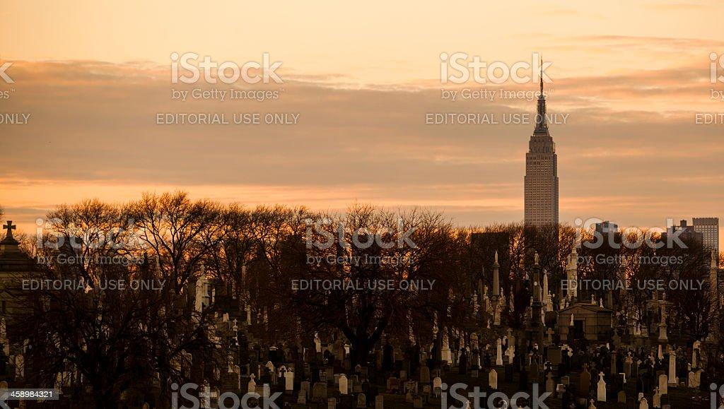 View of Manhattan across the Calvary Cemetery stock photo