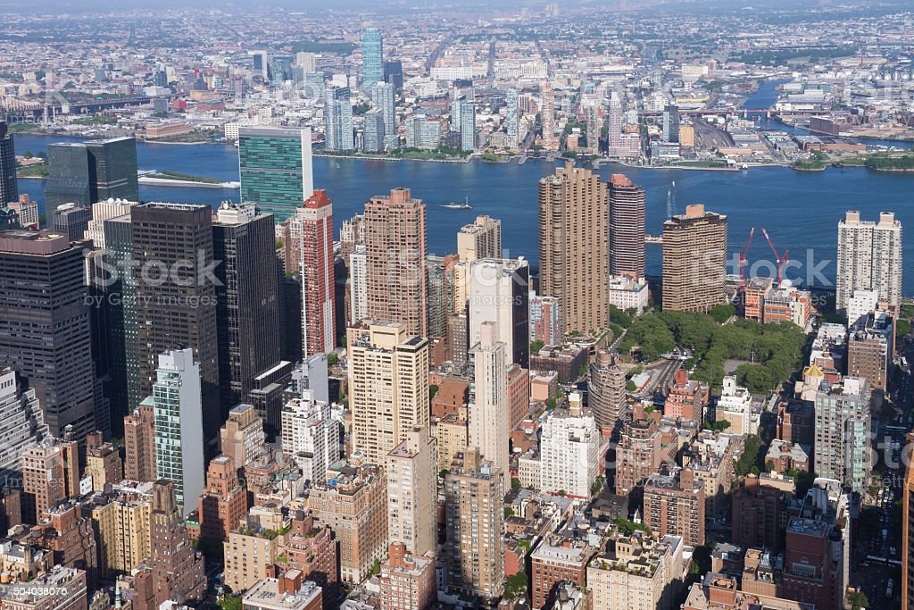 View of Manhattan as seen from the Empire State Building stock photo
