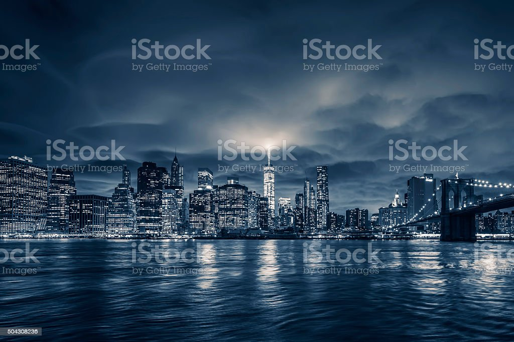 View of Manhattan at night stock photo