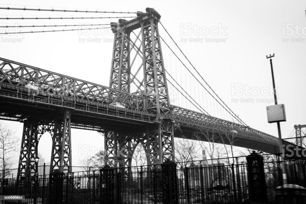 View of Manhattan Bridge from highway stock photo