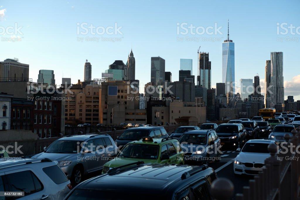 View of Manhattan From Brooklyn Bridge During Rush-hour stock photo