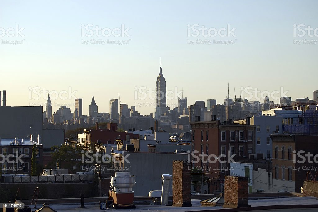 View of Manhattan from Williamsburg Brooklyn stock photo