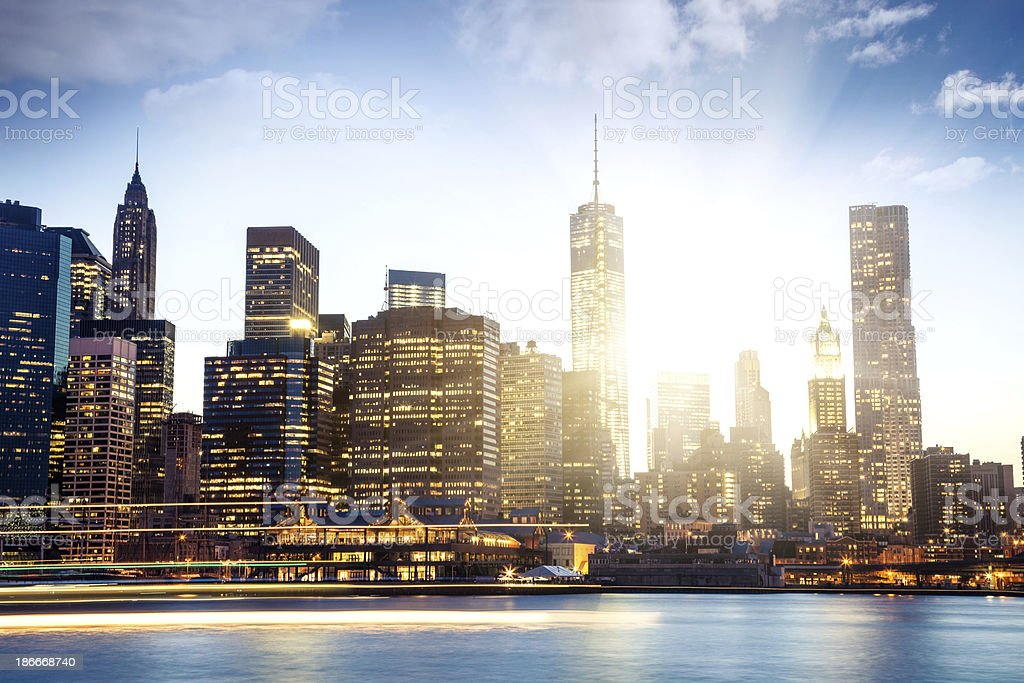 View of Manhattan with sun back light stock photo