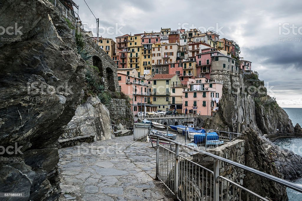 View of Manrola in Cinque Terre Italy stock photo