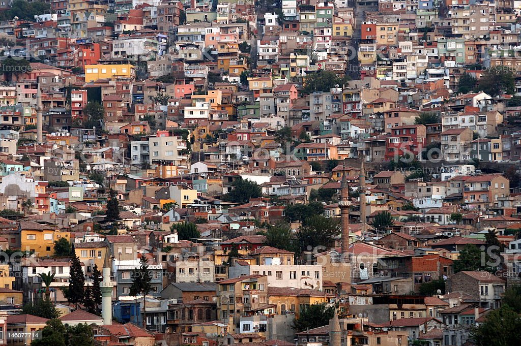 View of many slums packed together royalty-free stock photo