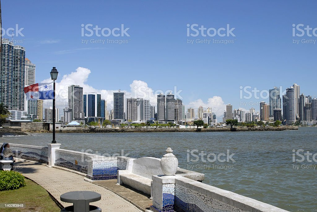A view of Marbella city from across the harbor royalty-free stock photo