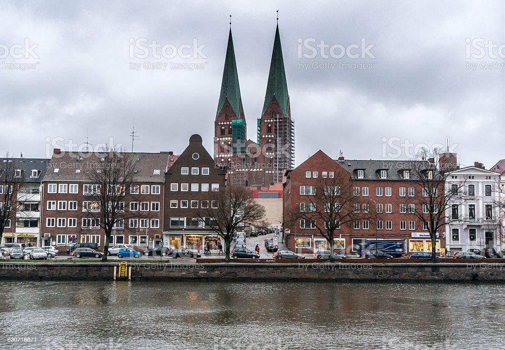 Vista di marienkirche e città di Lubecca foto stock royalty-free