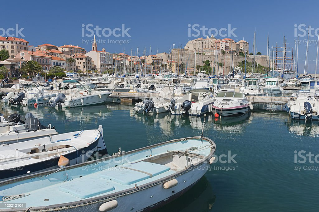 View of marina and boats in Calvi, Corsica stock photo