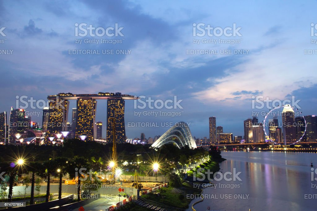 View of Marina Bay in dawn. stock photo