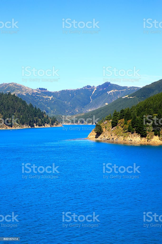View of Marlborough Sounds, Picton, New Zealand stock photo