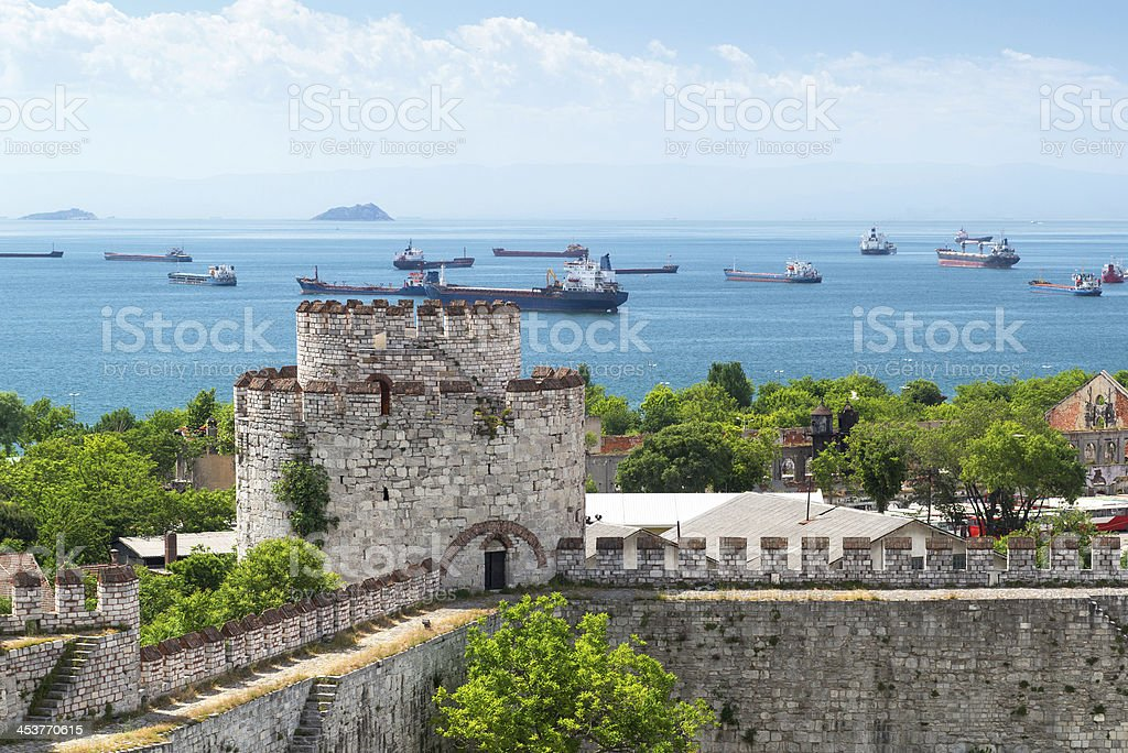View of Marmara Sea from Yedikule Fortress in Istanbul stock photo