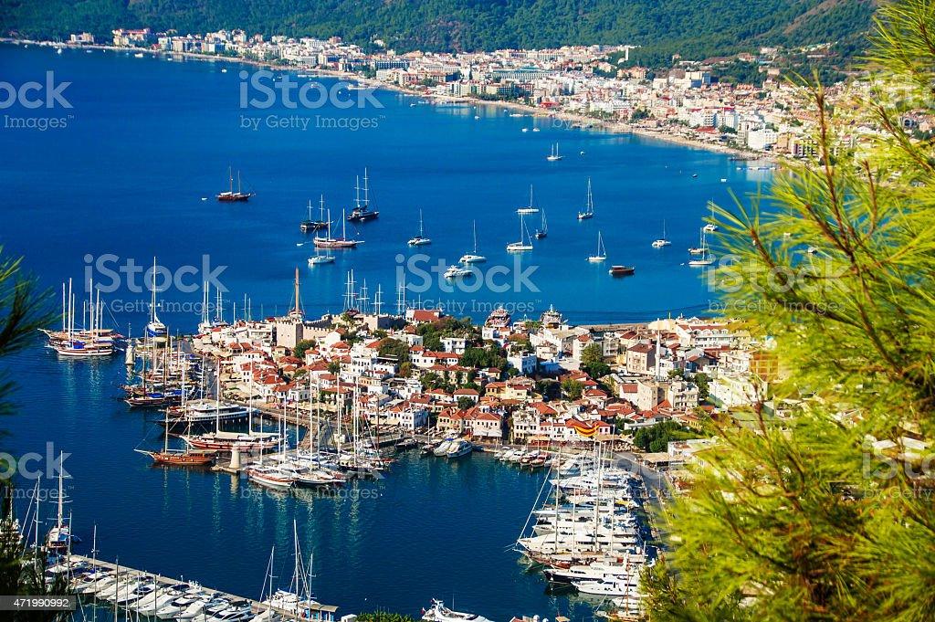 View of Marmaris harbor on Turkish Riviera. stock photo
