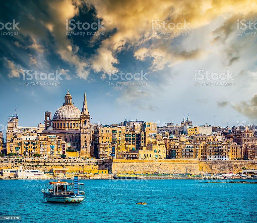 View of Marsamxett Harbour and Valletta stock photo