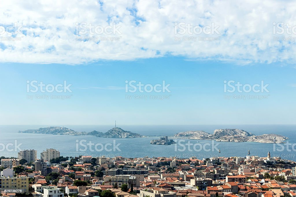 view of Marseille and ocean from mountain stock photo