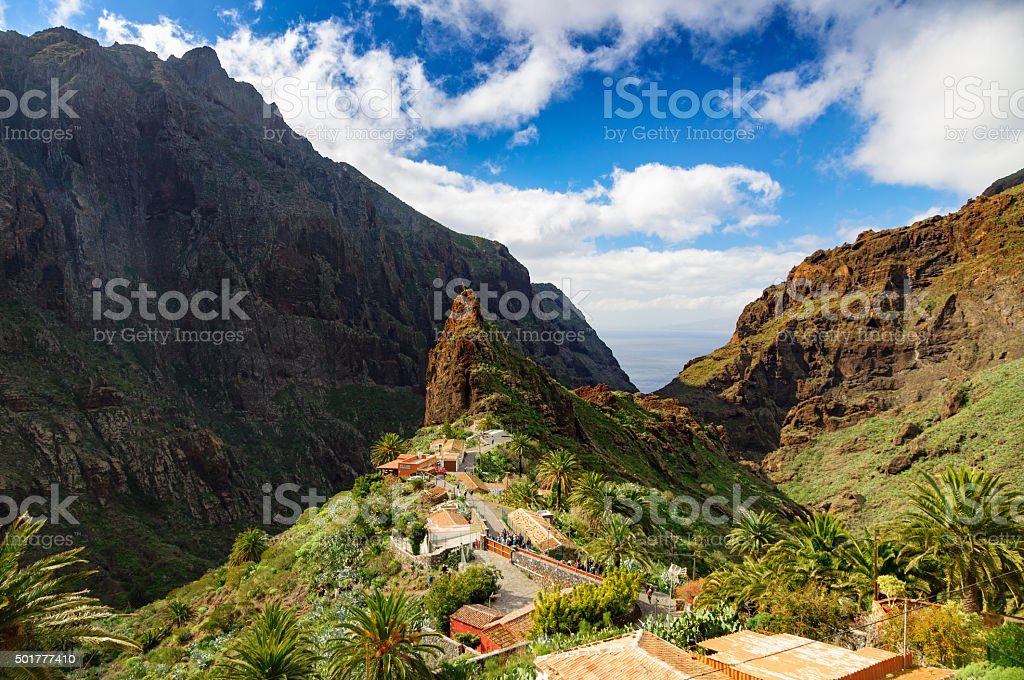 View of Masca village, Tenerife, Canary islands, Spain stock photo