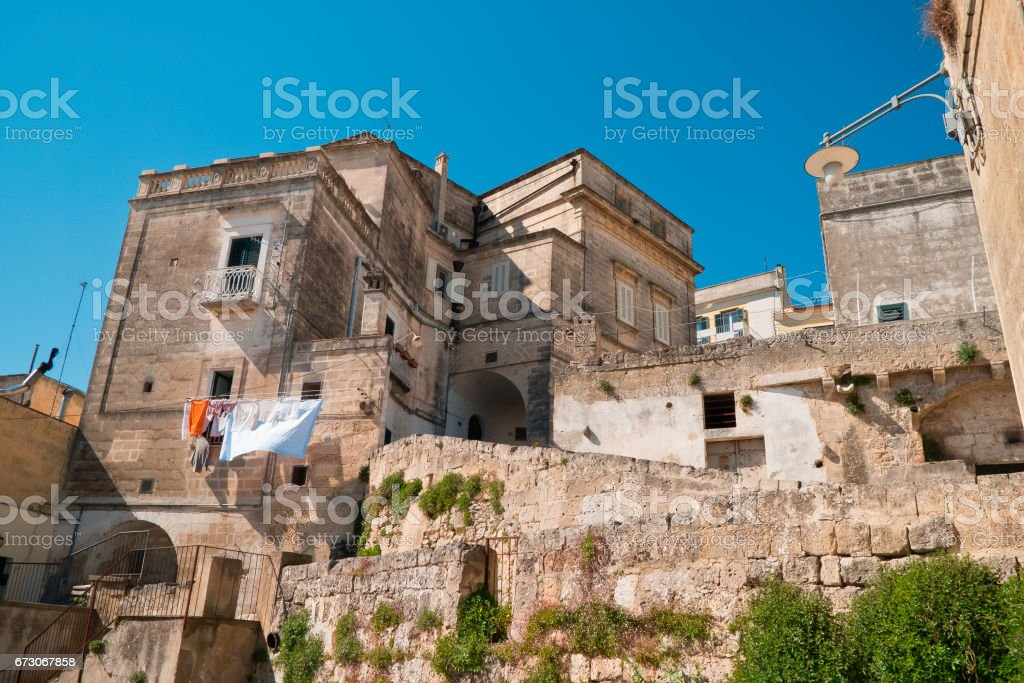 View of Matera city in sunny spring. stock photo