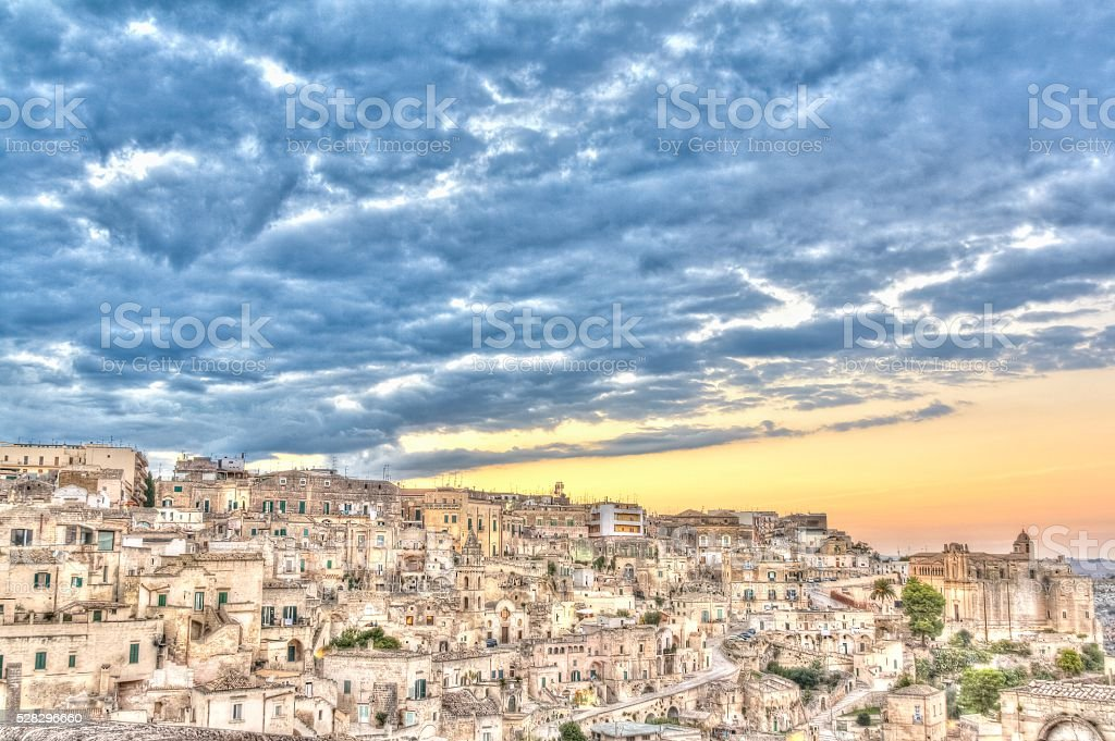 view of Matera, Italy, UNESCO at sunset stock photo