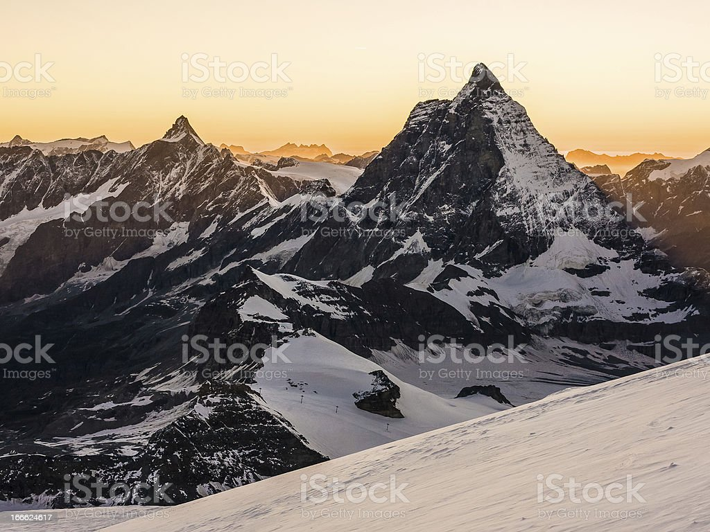 View of Matterhorn at sunset royalty-free stock photo