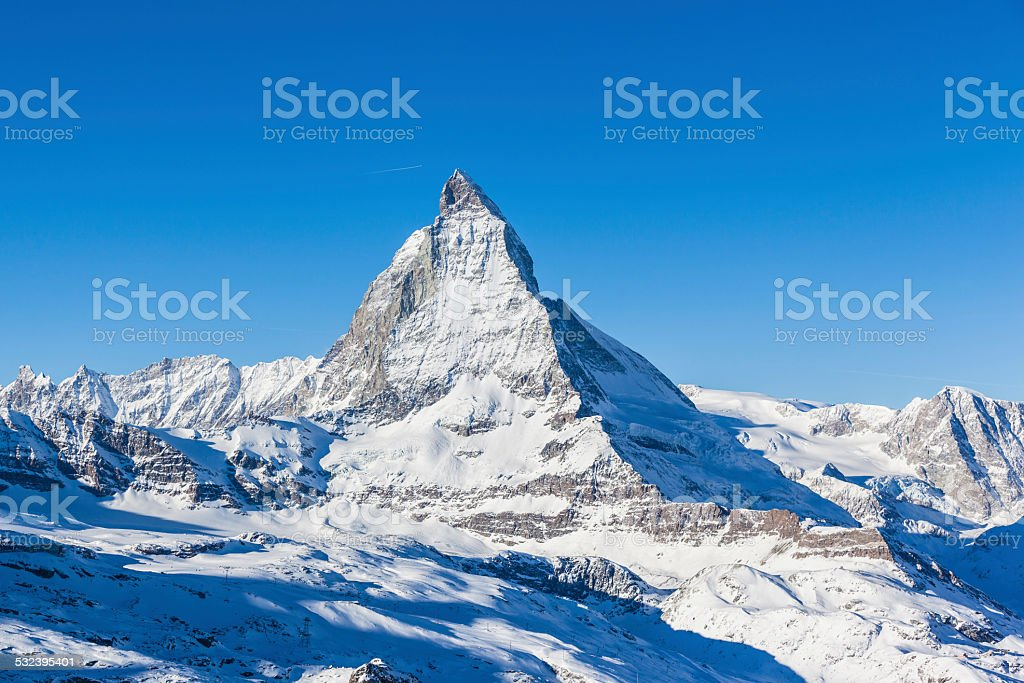 View of Matterhorn on a clear sunny day stock photo