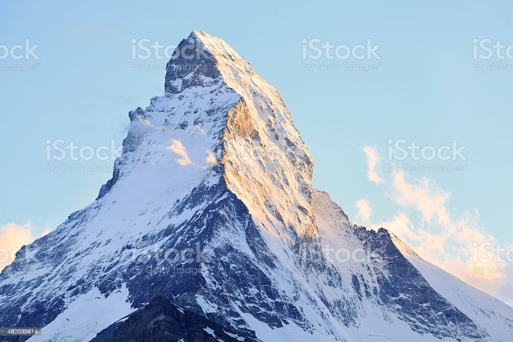 View of Matterhorn on late afternoon, Swiss stock photo