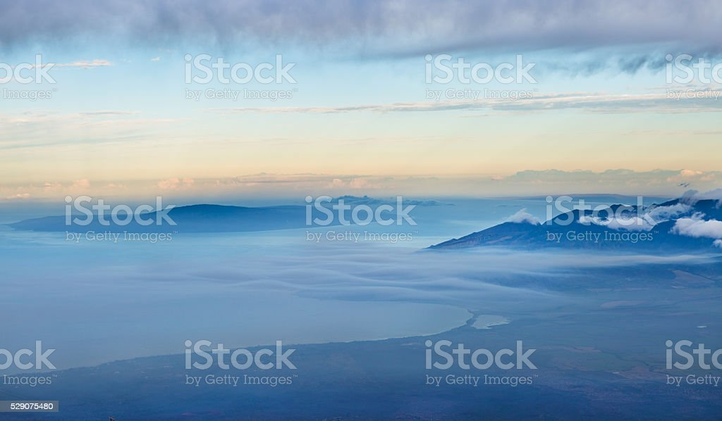 View of Maui from Haleakala National Park Crater, Maui Hawaii stock photo