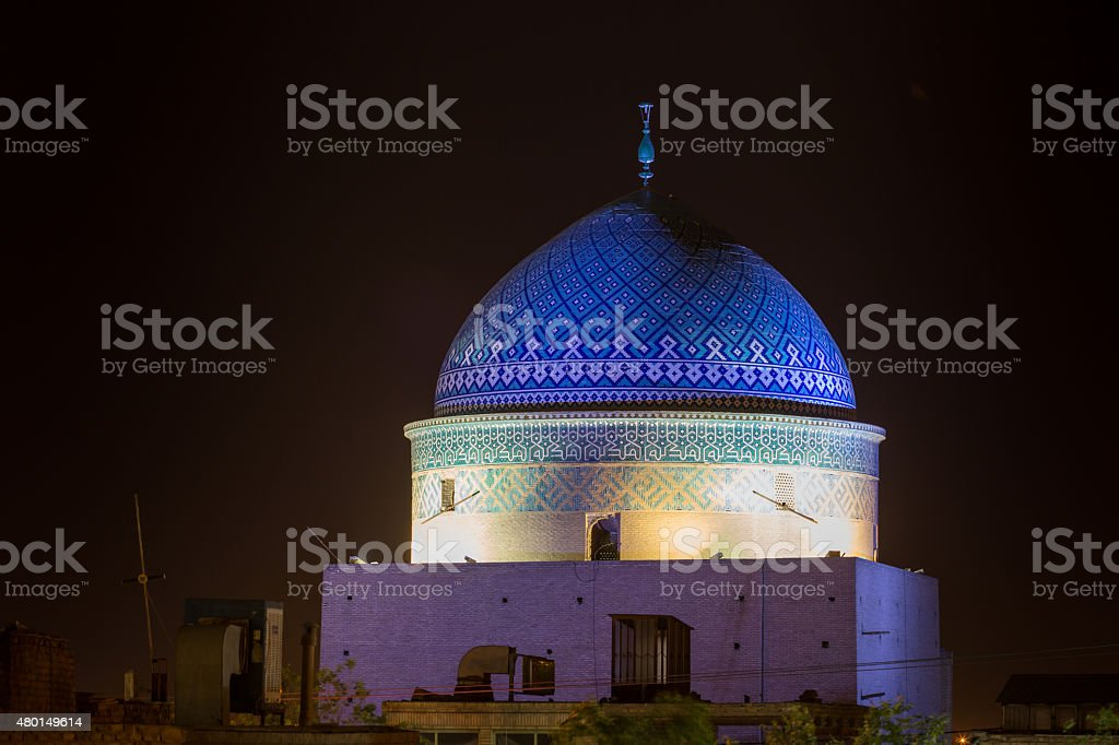 View of Mausoleum de Rokn od-Din, Yazd stock photo