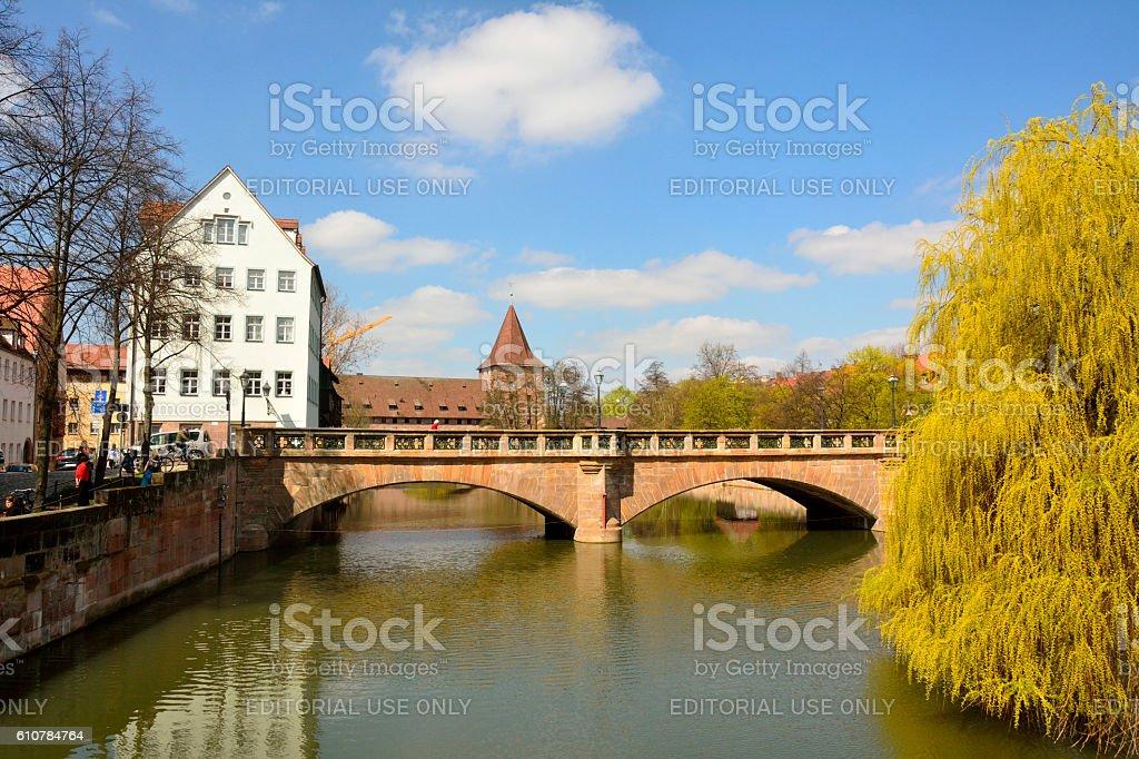 View of Maxbrucke bridge across Pegnitz river in Nuremberg stock photo