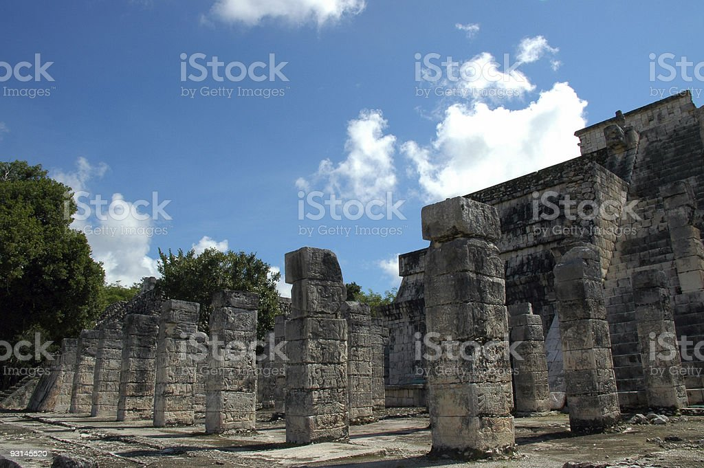 View of Mayan Columns with Hieroglyphics royalty-free stock photo