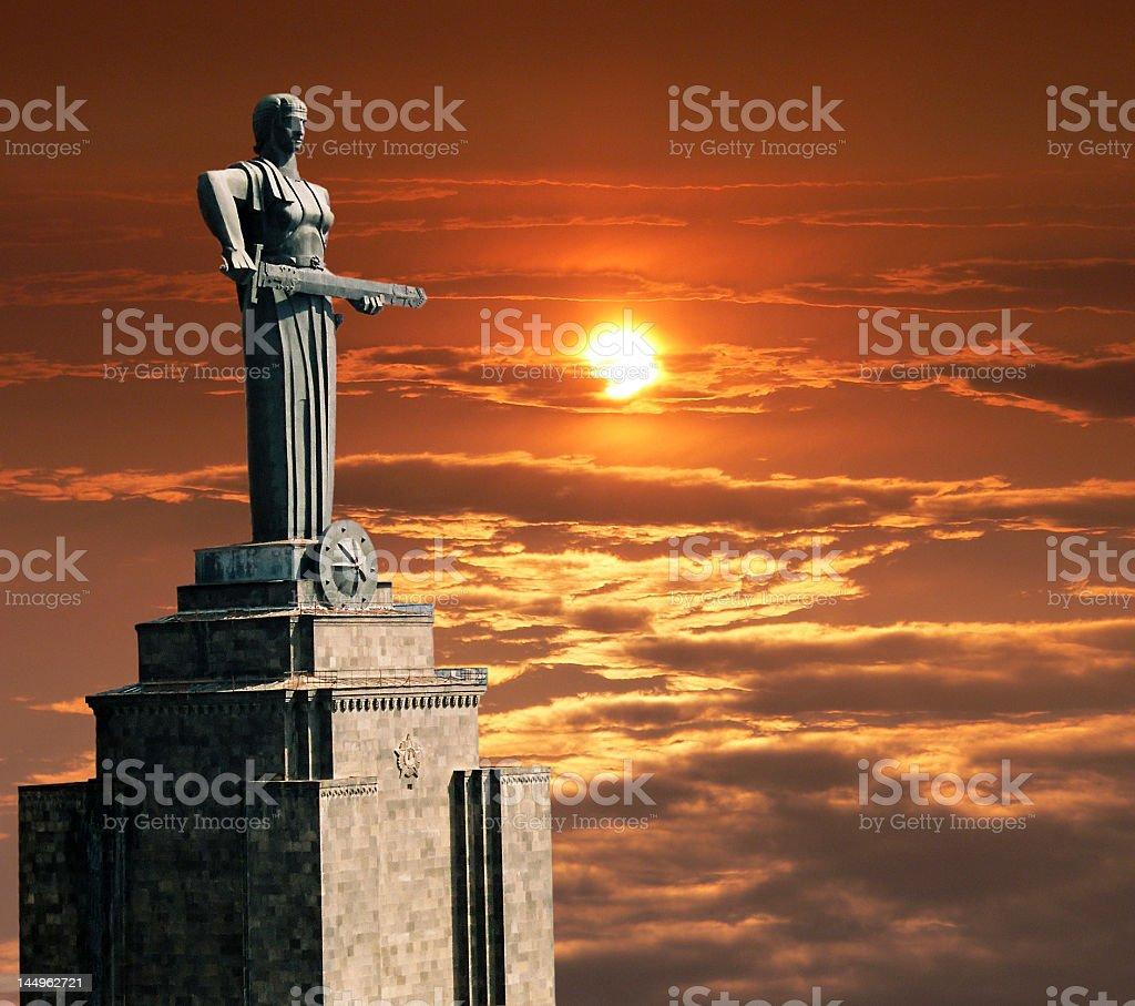 View of Mayr Hayastan at sunset stock photo