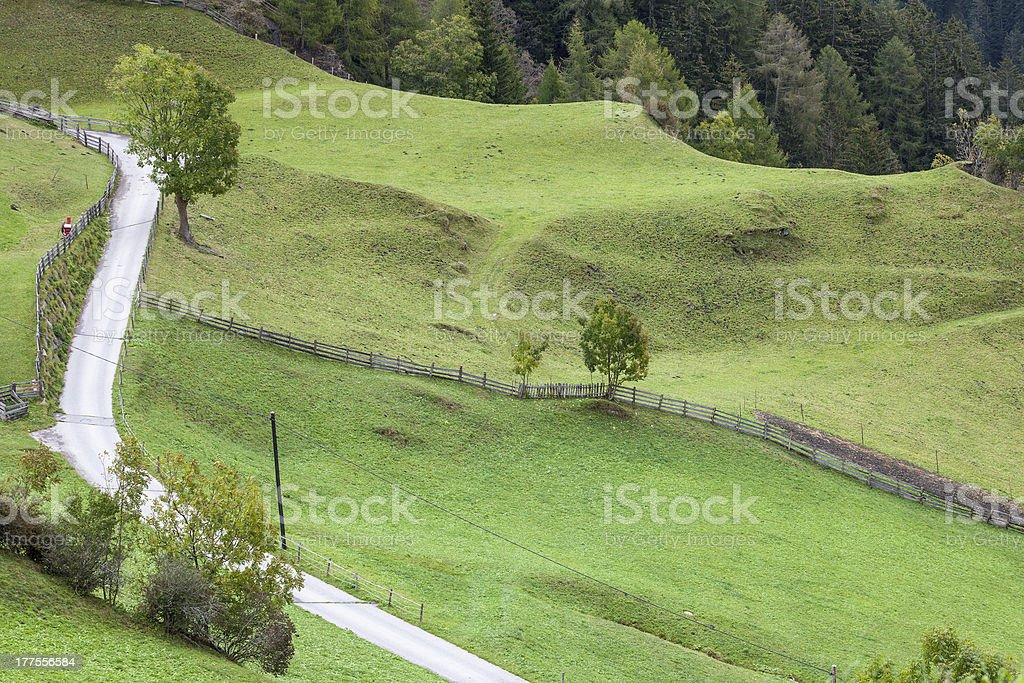 View of meadows and a road royalty-free stock photo