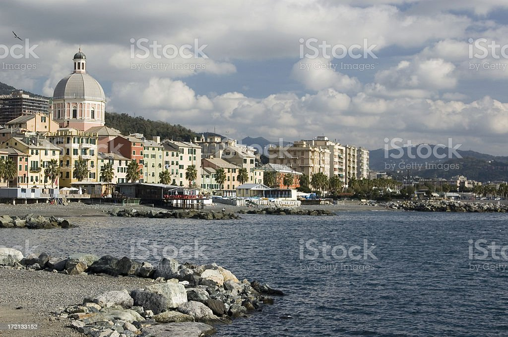 View of Mediterranean coast in Genoa/Genova royalty-free stock photo