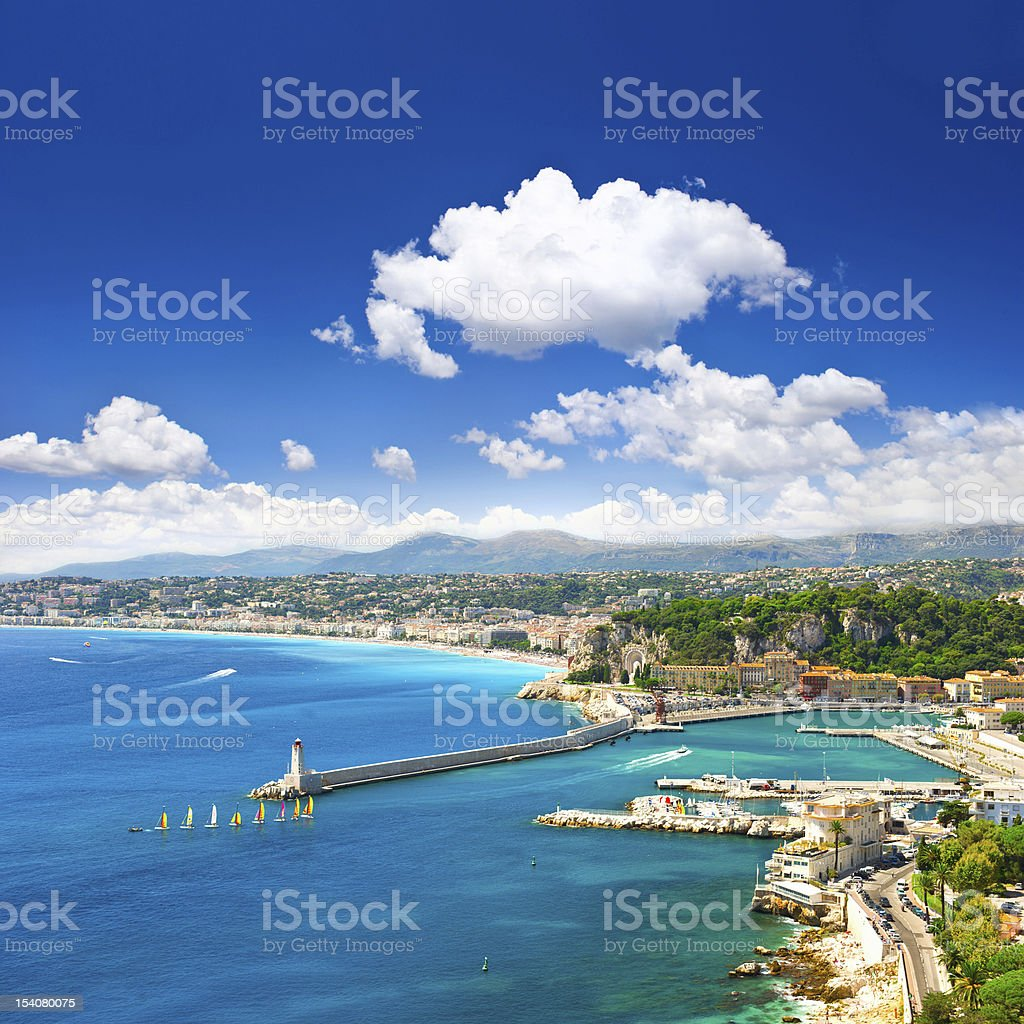 View of mediterranean resort, Nice, Cote d'Azur, France royalty-free stock photo