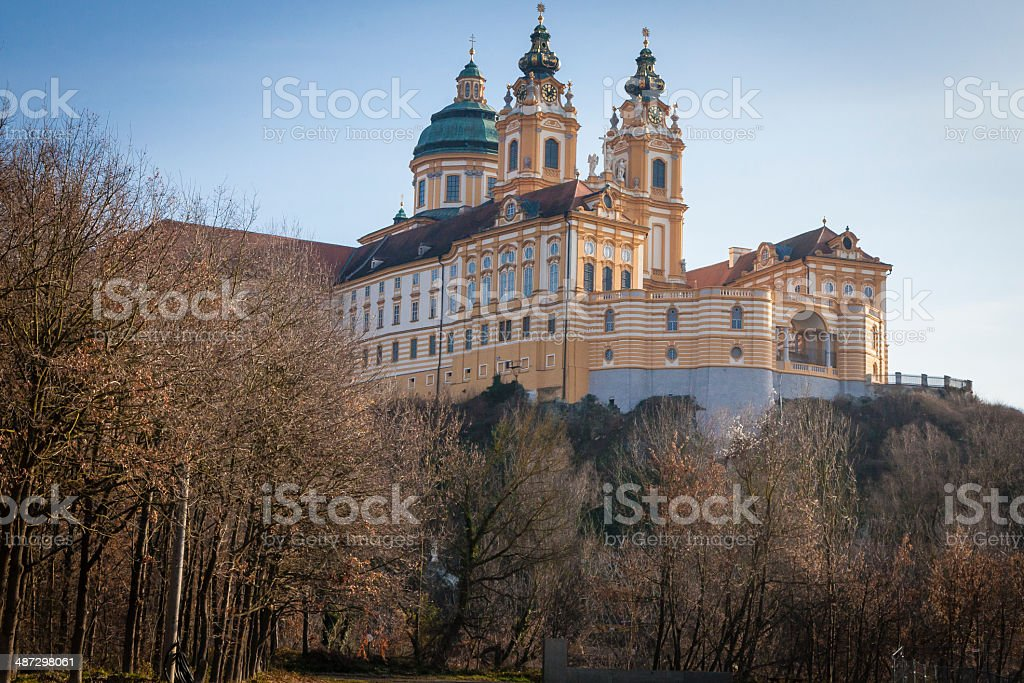 View of Melk Abbey Austria From Below Morning stock photo