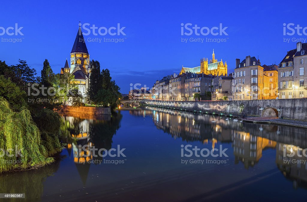 View of Metz by Night stock photo
