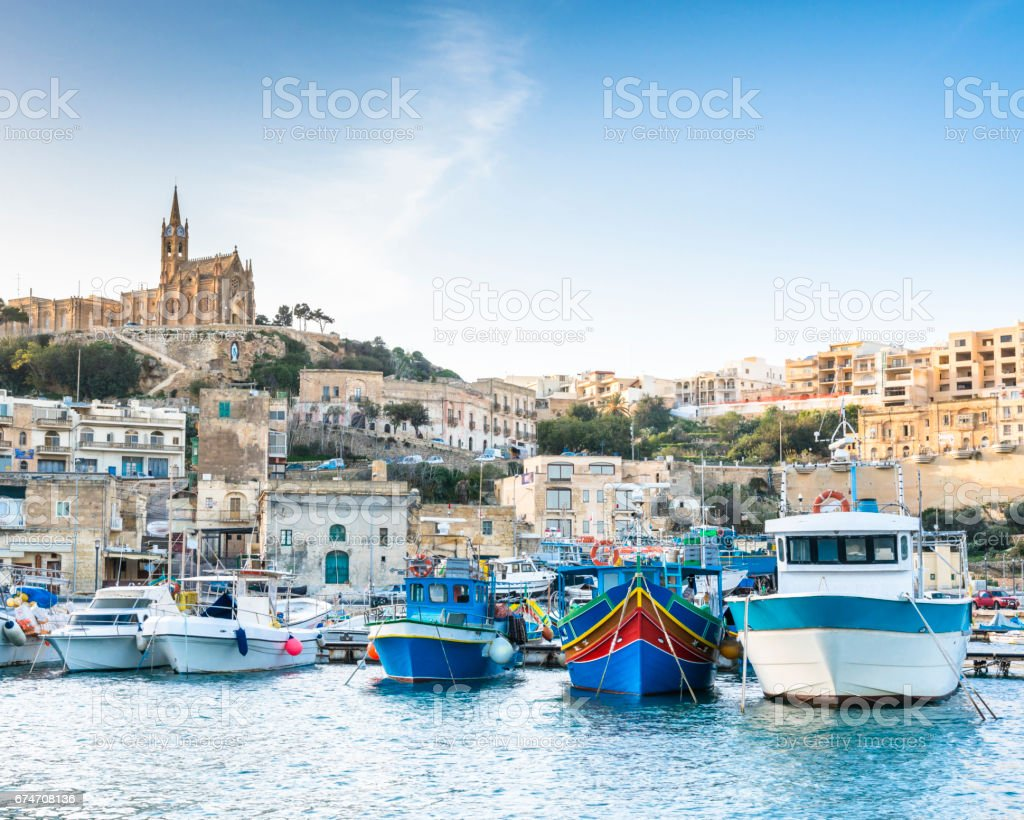 View of Mgarr Port on Gozo island, Malta stock photo