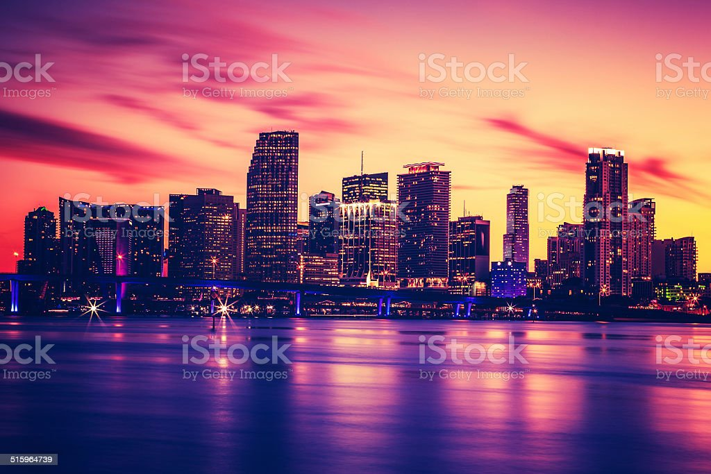 View of Miami at sunset, special photographic processing stock photo