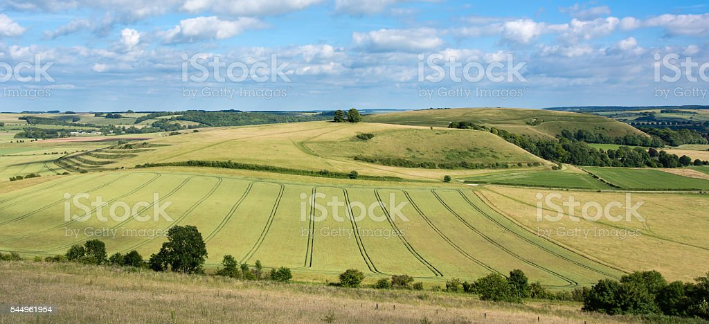 View of Middle Hill and Scratchbury Hill stock photo