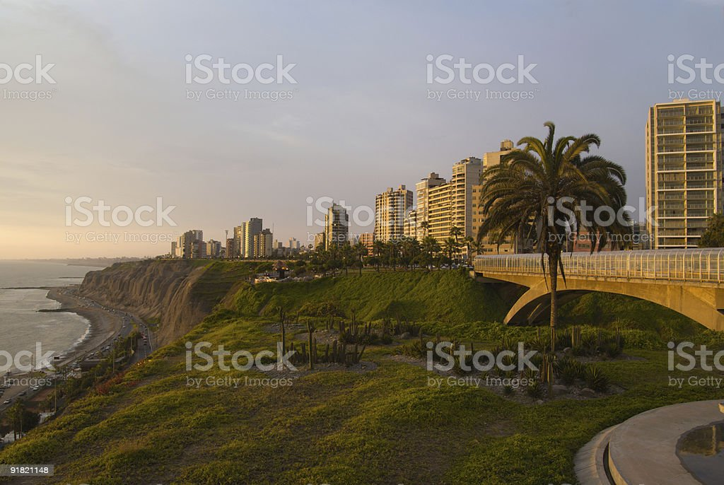 View of Miraflores at sunset stock photo