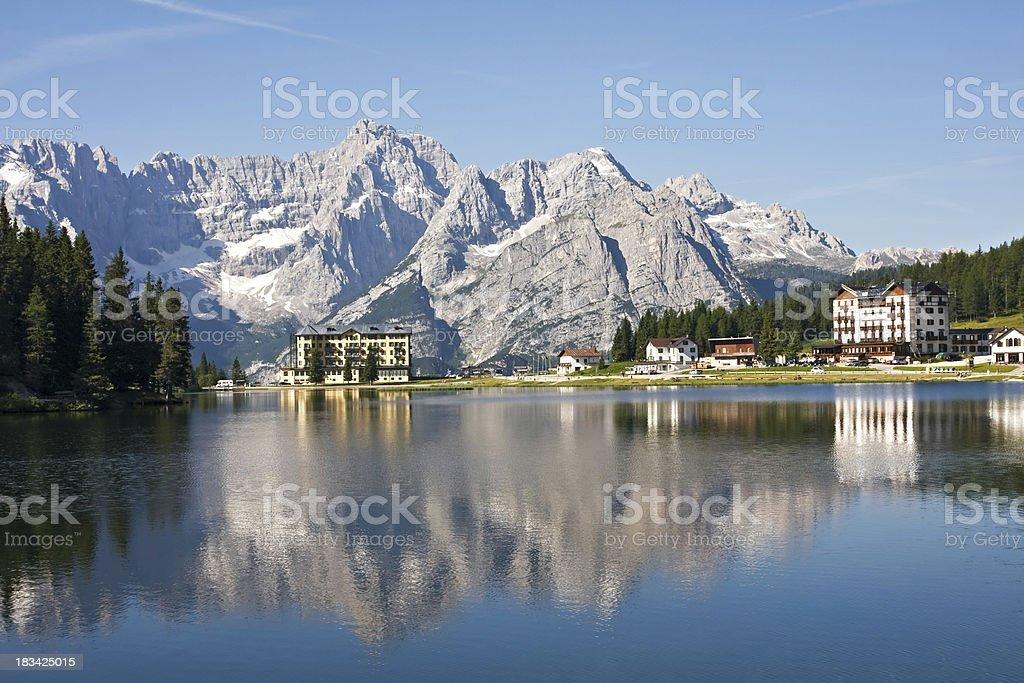 View of Misurina lake in the Dolomites stock photo