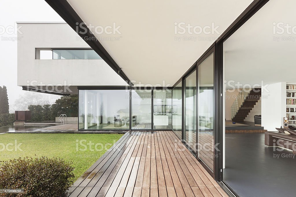 View of modern building focusing on lines stock photo