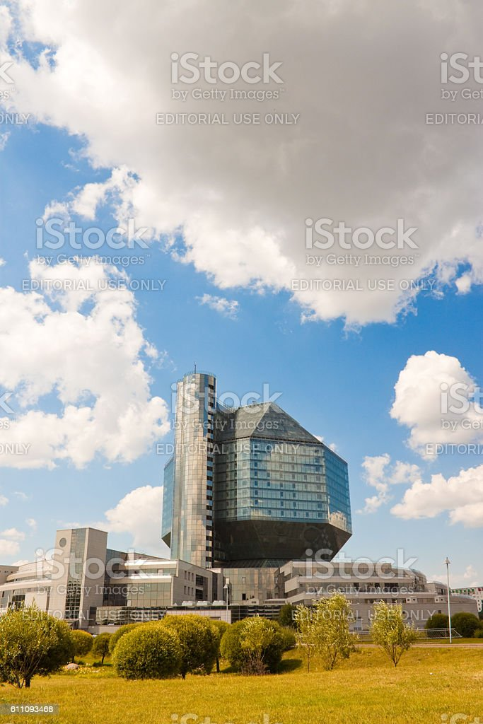View of modern building of National library of Belarus. stock photo