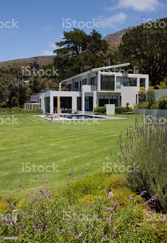 View of modern house and yard royalty-free stock photo