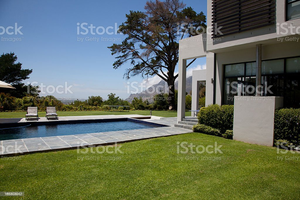 View of modern house with swimming pool royalty-free stock photo