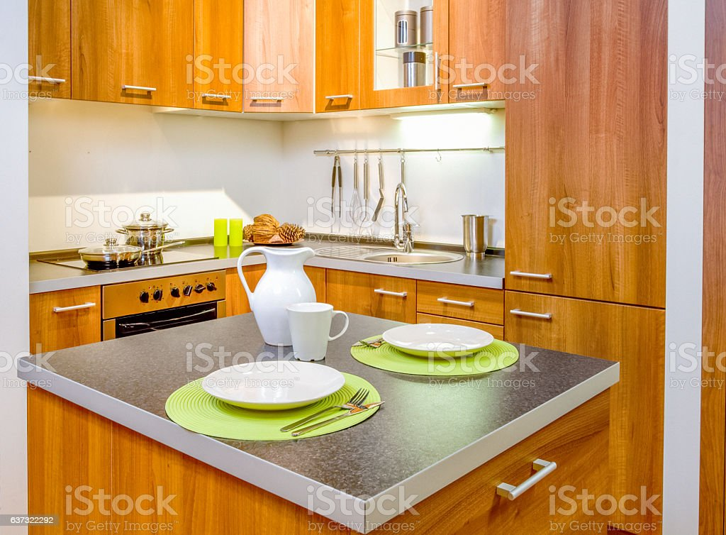 View of modern kitchen stock photo