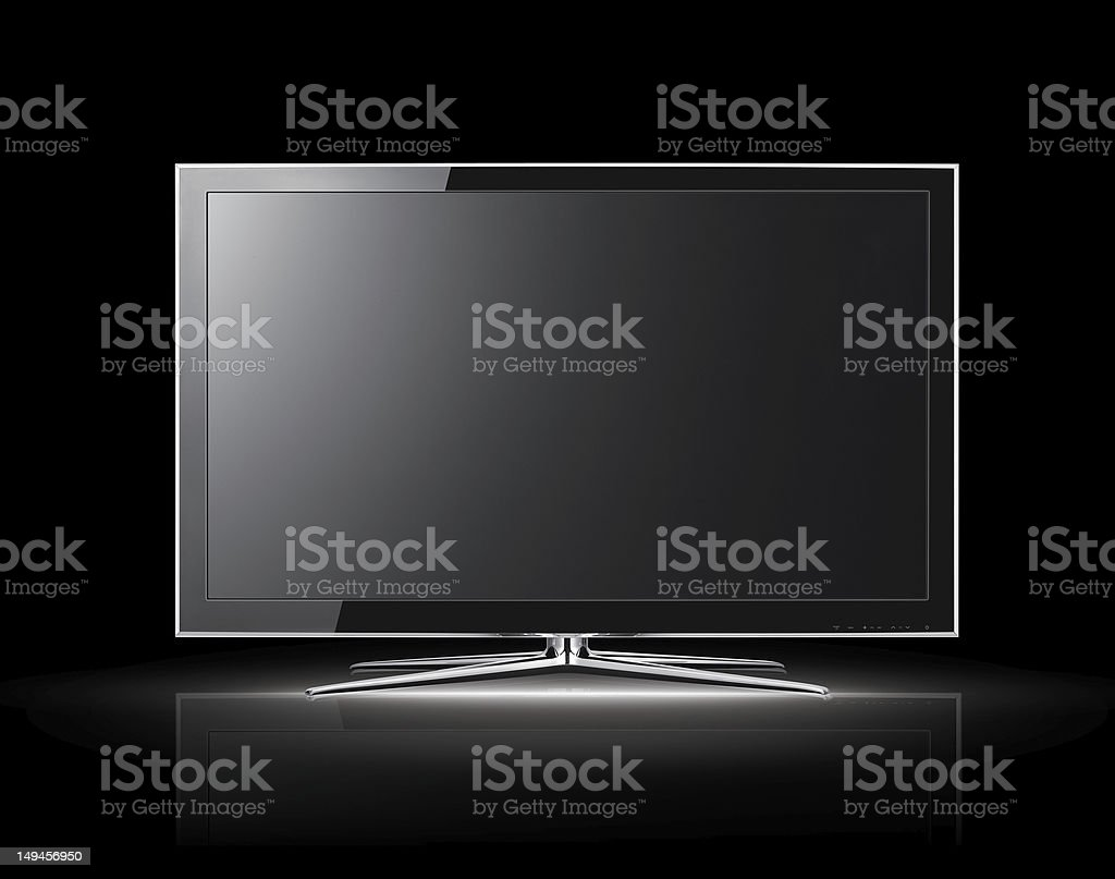 3D view of modern LCD TV on black background stock photo