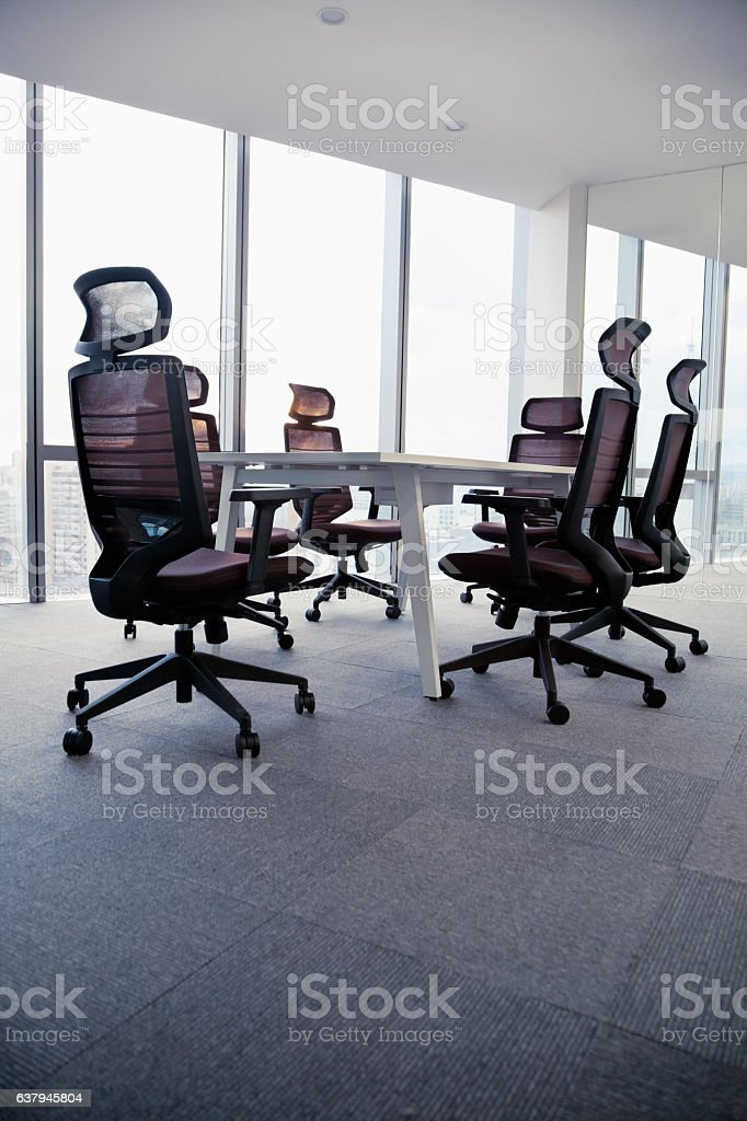 View of modern office conference room table and chairs stock photo