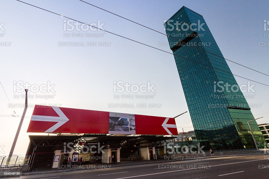 View of modorn building in the industial part of Zurich stock photo